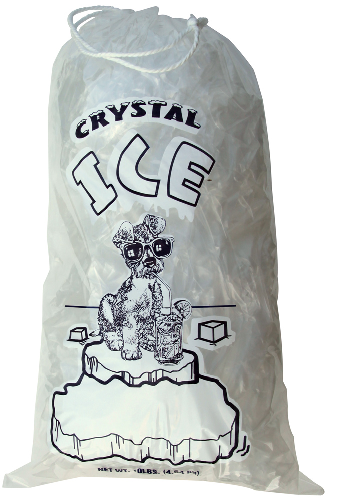 8 LB . ICE BAG W/DRAWSTRING - CRYSTAL - 500/CASE